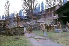 1977. India. Parade through the village. Malana. Royalty Free Stock Image