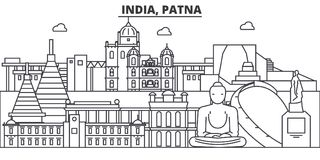 India, Patna architecture line skyline illustration. Linear vector cityscape with famous landmarks, city sights, design. Icons. Landscape wtih editable strokes royalty free illustration