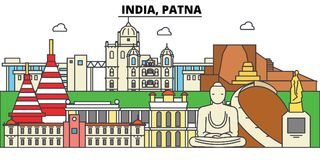 India, Patna, Hinduism. City skyline, architecture, buildings, streets, silhouette, landscape, panorama, landmarks Royalty Free Stock Photos