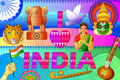 India patriotic background showing diverse Culture and Art. Vector illustration of India patriotic background showing diverse Culture and Art royalty free illustration