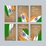 India Patriotic Cards for National Day. Expressive Brush Stroke in National Flag Colors on kraft paper background. India Patriotic Vector Greeting Card Stock Photos