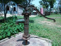 Hand tubewell in the village in a ward stock image