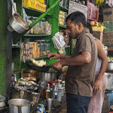 In India, people take their meals on the street Royalty Free Stock Photos
