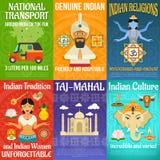 India plakata set royalty ilustracja
