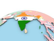 Flag of India on bright globe. India on political globe with embedded flags. 3D illustration Royalty Free Stock Photos