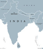 India political map. With capital New Delhi, national borders and neighbor countries. Republic and subcontinent in South Asia. Gray illustration, English Stock Images