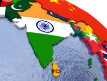 India on political map Royalty Free Stock Photos