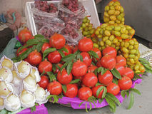 India - pomegranates for sale. Pomegranates for sale on a market stall. Northern India stock photography