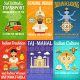 India Poster Set. India poster mini set with national transport religions and culture isolated vector illustration royalty free illustration