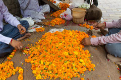 India - Producing flower decoration Stock Photography