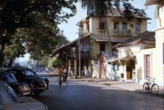 1977. India. A quiet street in Panjim. The photo shows, a peacifull quiet street in the old part of Panjim Royalty Free Stock Image