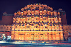 India, Rajasthan,Jaipur, Palace of the Winds. View at the famous palace at the night time Stock Images