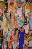 India, Rajasthan, Jaisalmer: Embroidery. Abstract patchwork as a painting; traditional women work Stock Photos