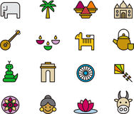 India related icons Royalty Free Stock Photo
