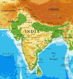 India-relief map. Highly detailed physical map of India,in vector format,with all the relief forms,regions and big cities Stock Image