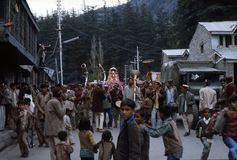 1977. India. Religious procession through Manali. The photo shows, a procession, carrying a local religious statue through the streets of Manali Stock Photos