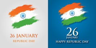 India Republic Day greeting card design vector illustration. 26 January - Republic day of India.  Royalty Free Stock Image