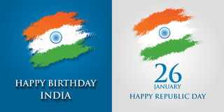 India Republic Day greeting card design vector illustration. 26 January - Republic day of India.  Royalty Free Stock Images