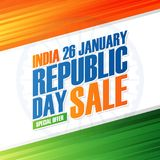India Republic Day Holiday Sale banner. Special offer background in indian national flag colors for business. Stock Photos