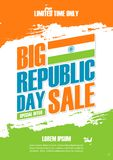 India Republic Day Holiday Sale poster. Special offer background in indian national flag colors brush strokes for business. India Republic Day Holiday Sale vector illustration