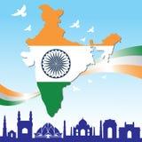 India republic day. Map of india, india flag and landmark Stock Image