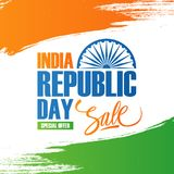 India Republic Day Sale banner. Special offer background with brush strokes in Indian national flag colors and lettering. Royalty Free Stock Images