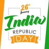 India republiki dnia kartka z pozdrowieniami na chorągwianych kolorach Obrazy Stock
