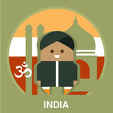 India Resident on National Background Vector. Icon of Indian person wearing national clothes on the traditional background in flat style, vector illustration Royalty Free Stock Photo