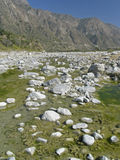 India - River scene. Rocky river in the Himalayan foothills. Northern India stock photography