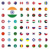 India round flag icon. Round World Flags Vector illustration Icons Set. Royalty Free Stock Image