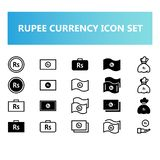 India rupee currency icon set in solid and outline style royalty free illustration