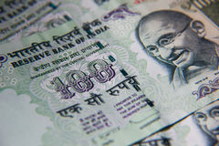 India Rupees. Close-up of a 100 Rupee note Royalty Free Stock Photos