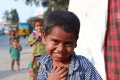 India's Children of Poverty. Picture of a young boy from the slums of Kurnool, India in Andhra Pradesh. Useful for purposes of illustrating the problem of Royalty Free Stock Photography
