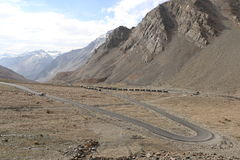 India`s Deadliest, very treacherous and adventurous roads roads. Himalaya mountains, India`s Deadliest, very treacherous and adventurous roads, Kargil-Leh Stock Photos