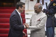 India ` s President Ram Nath Kovind bezoek in Griekenland Stock Afbeelding