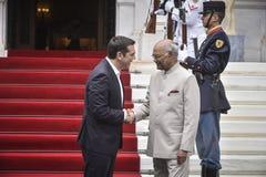 India ` s President Ram Nath Kovind bezoek in Griekenland Royalty-vrije Stock Afbeelding