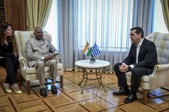 India ` s President Ram Nath Kovind bezoek in Griekenland Royalty-vrije Stock Foto