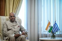 India ` s prezydenta baran Nath Kovind wizyta w Grecja Zdjęcie Stock