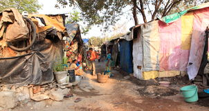 India's Slums. Detailed view of slums in India - useful for articles on developing nations, poverty and India Royalty Free Stock Photo