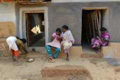 India's Tribal Lifestyle. A tribal family in a remote village of West Bengal royalty free stock photos