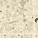 India seamless retro vector illustration Royalty Free Stock Images