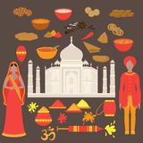 India set. Hinduism design elements. South Asia beautiful woman and man wearing indian traditional cloth. Taj Mahal Temple Landmar Stock Photography