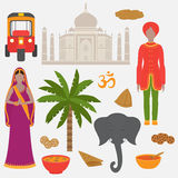 India set. Hinduism design elements. South Asia beautiful woman and man wearing indian traditional cloth. Taj Mahal Temple. India symbols set. Hinduism design vector illustration