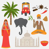 India set. Hinduism design elements. South Asia beautiful woman and man wearing indian traditional cloth. Taj Mahal Temple. Landmark in Agra. Vedic cuisine, set vector illustration