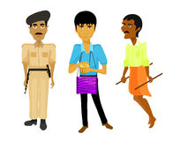 India set police man, musician, rickshaw. vector illustration Royalty Free Stock Photo