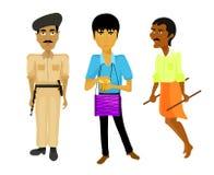 India setu policja obsługuje, muzyk, riksza również zwrócić corel ilustracji wektora Zdjęcie Royalty Free