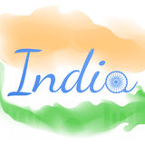 India sign. Greeting card with Indian national colors and drachma wheel Stock Photo