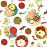 India?ska karmowa wektorowa India kuchnia i azjata naczy? masala z korzenny ilustracyjnym ustawiaj?cym Asia ry? i tandoori kurcza ilustracji