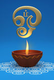 Indiańska Tradycyjna Nafciana lampa z Tamilskim Om symbolem royalty ilustracja