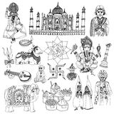 India sketch set. India travel traditional culture decorative sketch icons set with elephant lotus buddha isolated vector illustration Stock Photography